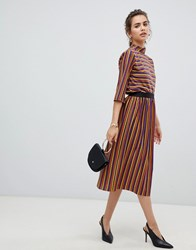 B.Young Metallic Stripe Skirt Multi