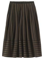 Toast Wide Stripe Cotton Skirt Dark Khaki Brown Washed Black