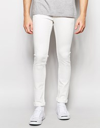 Solid Skinny Fit Stretch Jeans In White White