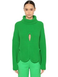 Antonio Berardi Wool Turtleneck Sweater W Cutouts Green