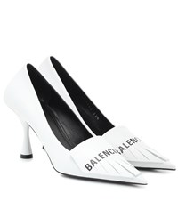 Balenciaga Knife Fringed Leather Pumps White