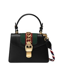 Gucci Sylvie Mini Bag Women Leather Suede Nylon Metal One Size Black