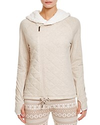 Ugg Australia Kay Hooded Zip Quilted Sweatshirt Oatmeal Heather