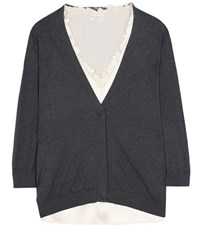 Brunello Cucinelli Twin Set Cotton Cardigan Grey
