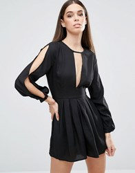 Ax Paris V Neck Split Sleeve Playsuit With T Bar Black