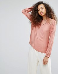 Soaked In Luxury Silky Blouse With Lace Panel Rose Dawn Pink