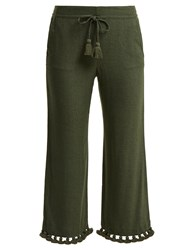 Figue Felipe Tassel Hem Silk Blend Trousers Khaki