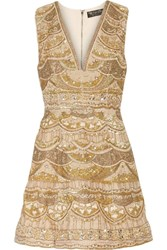Alice Olivia Patty Embellished Silk Chiffon Mini Dress Gold