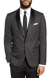 Strong Suit Morgan Trim Fit Wool Dinner Jacket Charcoal Dobby