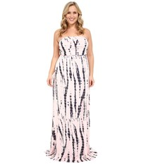 Culture Phit Plus Size Hally Dress Light Pink Tie Dye Women's Dress Neutral
