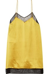 Gucci Mesh Trimmed Silk Satin Camisole Gold