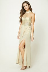 Forever 21 Embroidered Mesh Maxi Dress Champagne