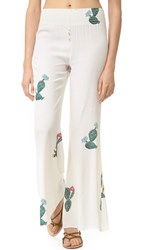 Wildfox Couture Cactus Flower Bell Bottom Pants Clean White
