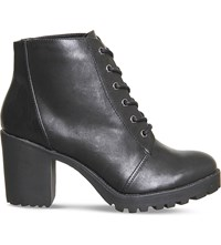 Office Leaderboard Lace Up Ankle Boots Black