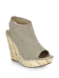 Stuart Weitzman Espadrille Wedge Sandals Grey