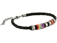 Gypsy Soule Braided Leather Beaded Bracelet Black Pink Bracelet