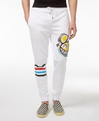 Hudson Nyc Men's Smiles Graphic Print French Terry Cotton Joggers White