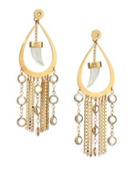 House Of Lavande Nihiwatu Mother Of Pearl And Crystal Double Sided Fringe Teardrop Earrings Gold