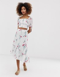 Neon Rose Assymetric Midi Skirt In Vintage Floral Co White