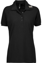Y 3 Adidas Modal And Cotton Blend Pique Polo Shirt Black