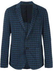 Z Zegna Checked Single Breasted Blazer Blue