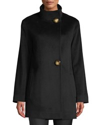 Fleurette Funnel Neck Top Coat W Large Buttons Black