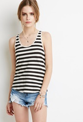 Forever 21 Striped Racerback Tank Grey Black