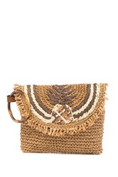 Tommy Bahama Puerto Limon Pineapple Straw Clutch Natural