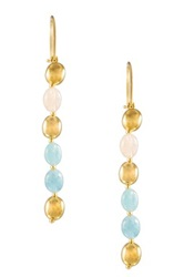 Adami And Martucci White 8 10Mm Freshwater Pearl And Beryl Beaded 18K Gold Vermeil Long Drop Earrings Blue