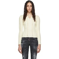 Dsquared2 White Lace Up V Neck Sweater