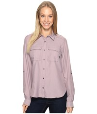 Columbia Pilsner Peak Ii Long Sleeve Shirt Sparrow Heather Women's Long Sleeve Button Up Pink