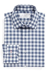 Lorenzo Uomo Men's Big And Tall Trim Fit Check Dress Shirt Navy Grey