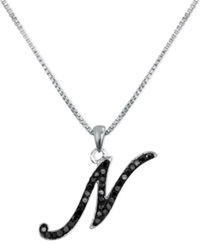 Macy's Sterling Silver Necklace Black Diamond 'N' Initial Pendant 1 4 Ct. T.W.