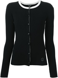Armani Jeans Contrasting Collar Fitted Cardigan Black