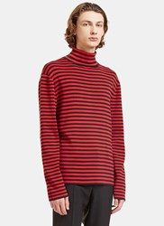 Gucci Striped Roll Neck Knit Sweater Red