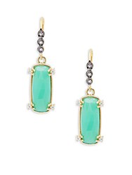 Alanna Bess Crystal And 18K Yellow Gold Drop Earrings Gold Green