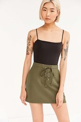 Cooperative Lace Up Mini Skirt Olive