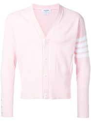 Thom Browne Striped Detail Cardigan Men Cotton 2 Pink Purple