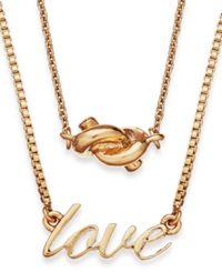 Kate Spade New York Gold Tone Love And Knot Pendant Two Row Necklace