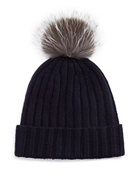 Bloomingdale's The Men's Store At Ribbed Faux Fur Pom Hat Navy W Grey Silver Pom