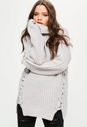 Missguided Grey Chunky Lace Up Side Turtleneck Sweater