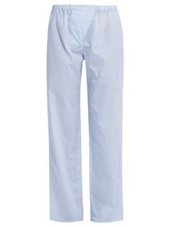 Three Graces London Gisele Striped Cotton Pyjama Trousers Blue