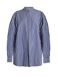 A.W.A.K.E. Oversized Striped Cotton Shirtdress Navy White