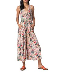 Plenty By Tracy Reese Flared Painterly Jumpsuit Beige Floral