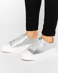 Blink Soft Toecap Lace Up Trainer Silver
