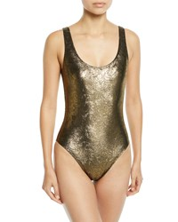 Marie France Van Damme Metallic Jacquard Maillot One Piece Swimsuit Yellow