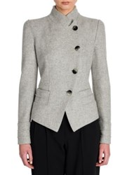 Giorgio Armani Asymmetrical Wool Cashmere And Silk Jacket Grey