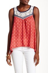 Jolt Lace Yoke Printed Tank Red
