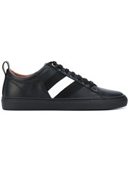 Bally Striped Sneakers Men Leather Rubber 8 Black