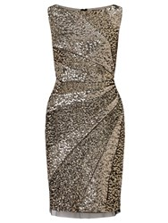 Adrianna Papell Sequin Cocktail Dress Brown